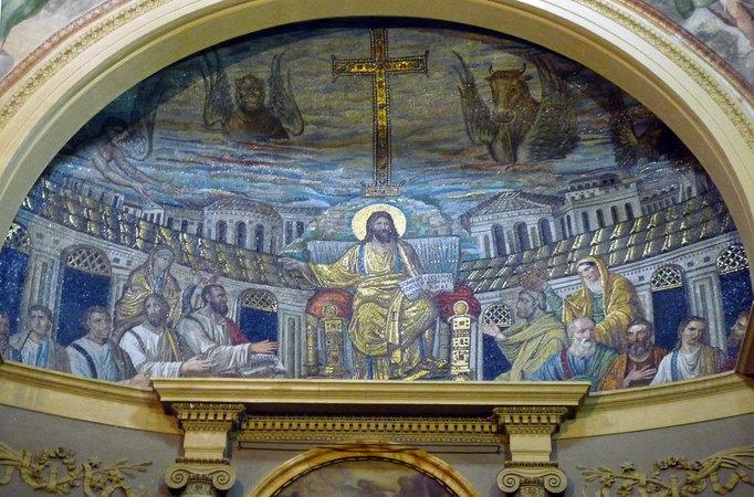 Apse mosaic of Santa Pudenziana, 4th century C.E., Rome