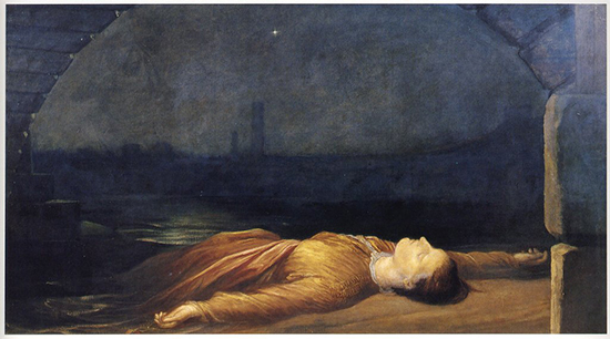 George Frederic Watts RA, Found Drowned, oil on canvas, c. 1848-50 (Watts Gallery, Guildford, Surrey)