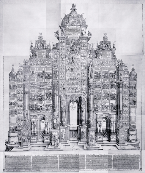 Albrecht Dürer and others, The Triumphal Arch, c. 1515, woodcut printed from 192 individual blocks,  357 x 295 cm, © Trustees of the British Museum.