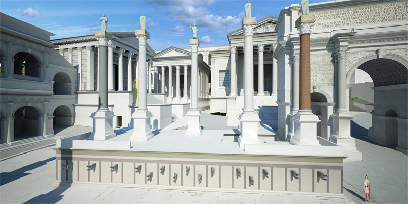 Western end of the Roman Forum. In the foreground is the Rostra Augusti. In the background are (left to right) the Temple of Saturn, the Temple of Vespasian, and the Temple of Concordia. Elements of the model © 2008 The Regents of the University of California, © 2011 Université de Caen Basse-Normandie, © 2012 Frischer Consulting. All rights reserved. Image © 2012 Bernard Frischer