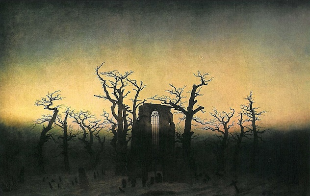Friedrich, Abbey in the Oak Forest, 1809 or 1810, oil on canvas, 110.4 x 171 cm (Alte Nationalgalerie, Berlin)