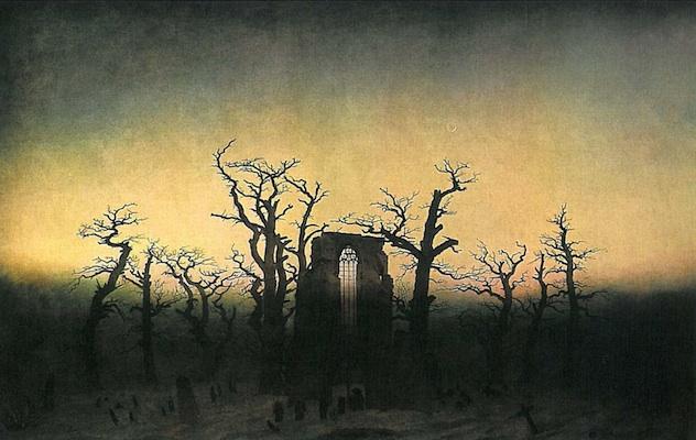 Friedrich, Abbey in the Oak Forest, 1809 or 1810, oil on canvas, 110.4 x 171 cm (Alte Nationalgalerie, Berlin)