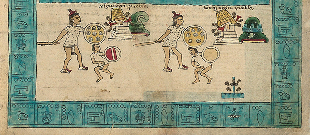 Detail with year 2-Reed glyph (lower right), Frontispiece, Codex Mendoza, Viceroyalty, New Spain, c. 1541–1542, pigment on paper © Bodleian Libraries, University of Oxford