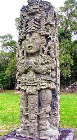 Portrait of '18-Rabbit' from Stela A, Copán, Honduras, 731 C.E. (photo adapted: Dennis Jarvis)