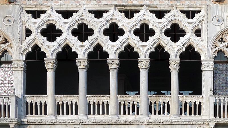 Gothic quatrefoils atop columns on second story balcony, Ca' d'Oro, 1422-1440, Venice