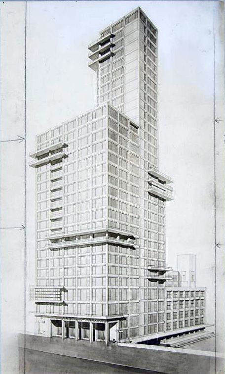 Walter Gropius and Adolf Meyer, competition entry for the Chicago Tribune Tower, 1922, perspective drawing, 22.5 x 13.3cm, gelatin silver print sheet (Harvard Art Museums)