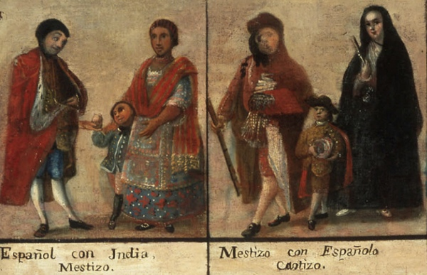 Detail of first two groups, Casta Painting, 18th century (Museo Nacional del Virreinato, Mexico)