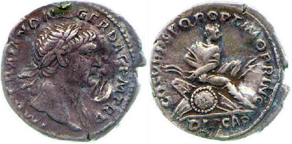Denarius (Roman coin), obverse: Trajan in profile; reverse: Dacian seated right on pile of arms, his hands bound behind him, silver, c. 103-11 (Fitzwilliam Museum, Cambridge, CM.BU.240-R)