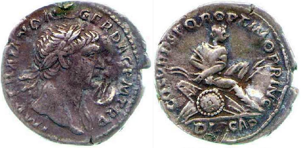 Denarius (Roman coin), obverse: Trajan in profile; reverse: Dacian seated right on pile of arms, his hands bound behind him, silver, c. 103-11 (Fitzwilliam Museum, Cambridge, CM.BU.240-R)
