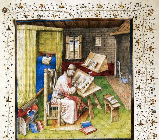 Buonaccorso of Pistoia, of true nobility Debate, Jean Le Tavernier, illuminator, Jean Miélot in his study, after 1450, Brussels, KBR, ms. 9278-80 f. 10