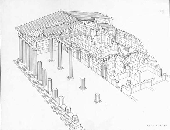 P. De Jong, Restored Perspective of the South Stoa, Corinth, photo: American School of Classical Studies, Digital Collections