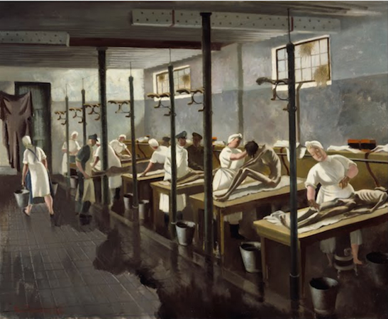 "Doris Clare Zinkeisen, Human Laundry, Belsen: April 1945 (Imperial War Museums) ""In 1944 Zinkeisen was commissioned by the Red Cross and St John War Organisation to record their work in north-west Europe, and was one of the few women war artists to be sent overseas. On 15 April 1945 British soldiers entered Bergen-Belsen concentration camp to find a scene of absolute horror. Ten thousand corpses lay unburied, and around 60,000 starving and sick people were packed into the camp's barracks without food or water. Doris Zinkeisen arrived soon afterwards. Human Laundry is arguably the most powerful work produced by any of the artists who were present….The camp inmates needed to be washed and de-loused to prevent the spread of typhus before they could be admitted to the makeshift Red Cross hospital nearby."" Source"