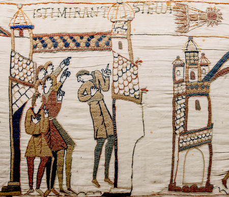 "Scene 32, ""These people marvel at the star"" (detail), Bayeux Tapestry, c. 1070, embroidered wool on linen, 20 inches high (Bayeux Museum)"