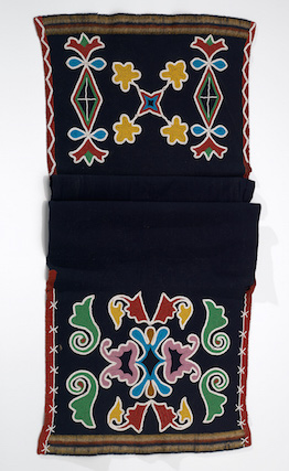 Sac and Fox man's breechcloth, c. 1880, Oklahoma, wool cloth, cotton, glass bead/beads, cotton thread, 135 x 45 cm (National Museum of the American Indian, New York)