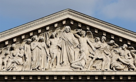 Henri Lemaire, Last Judgement (detail of pediment), 1828-9, (Church of La Madeleine, Paris)