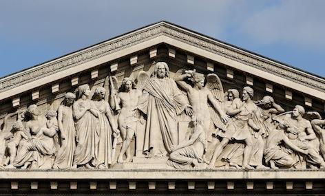 Henri Lemaire, Last Judgement (detail of pediment), 1828-9, (Church of La Madeleine, Paris)