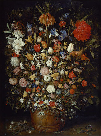 Jan Brueghel the Elder, Flowers in a Wooden Vessel, 1568, oil on wood, 98 x 73 cm (Kunsthistorisches Museum, Vienna)
