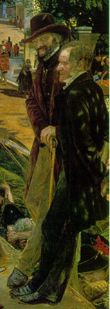 Caryle and Maurice (detail), Ford Madox Brown, Work, 1852-65, oil on canvas, 137 x 197.3 cm (Manchester City Art Galleries, Manchester)