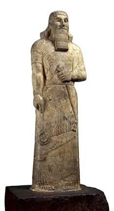 Statue of Ashurnasirpal II, Neo-Assyrian, 883-859 B.C.E., from Nimrud (ancient Kalhu), northern Iraq, magnesite, 113 x 32 x 15 cm © Trustees of the British Museum