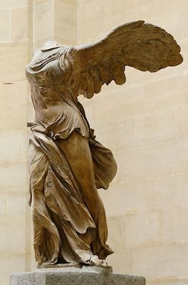 Nike (Winged Victory) of Samothrace, Lartos marble (ship) and Parian marble (figure), c. 190 B.C.E. 3.28m high (Louvre, Paris)