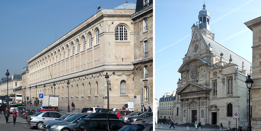 Left: Henri Labrouste, Bibliothèque Sainte-Geneviève , 1838-50 (across from the Panthéon's north side); right: Saint-Étienne-du-Mont, dedicated 1626 (to the northeast of the Panthéon)