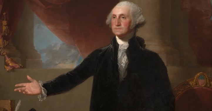 "Washington (detail), Gilbert Stuart, Lansdowne Portrait of George Washington, 1796, oil on canvas, 96 × 60"" / 243.8 × 152.4 cm (National Portrait Gallery)"