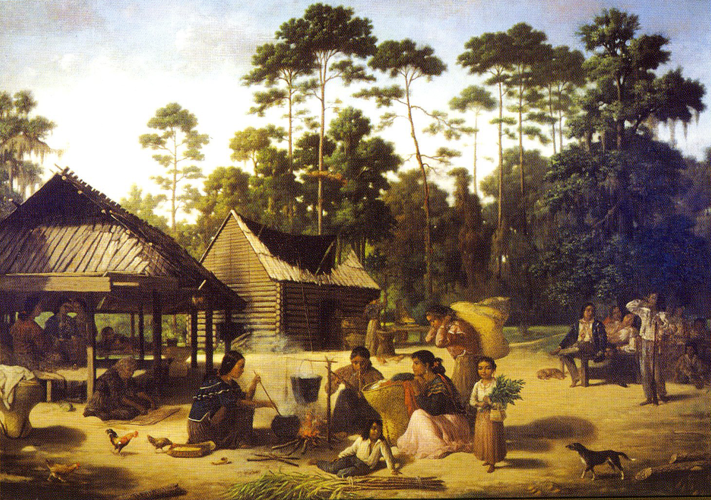 American indian culture of the southeast article khan academy a painting of choctaw women harvesting processing and cooking maize by francois bernard sciox Choice Image