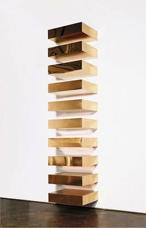 "Donald Judd, Untitled, 1969, ten copper units, each 9 x 40 x 31"" with 9"" intervals (Guggenheim Museum, New York)"