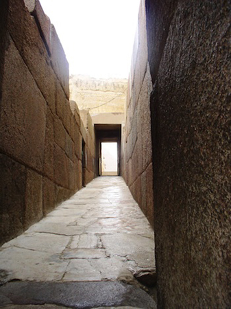 View up the causeway from Khafre's valley temple towards his pyramid (Photo: Dr. Amy Calvert)