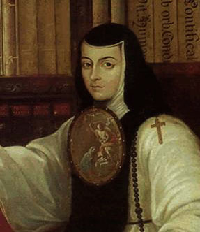 Nun's badge (detail), Miguel Cabrera, Portrait of Sor Juana Inés de la Cruz, c. 1750, oil on canvas (Museo Nacional de Historia, Castillo de Chapultepec, Mexico)