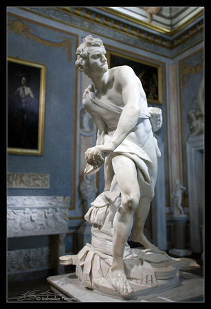 Gian Lorenzo Bernini, David,1623-24, marble, 170 cm (Galleria Borghese, Rome) (photo: Salvador Fornell CC BY-NC-ND 2.0)
