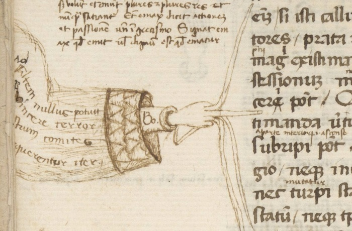 Unusual manicule wih five spread fingers, Cicero, Paradoxa stoicorum, 14th century, Berkeley, Bancroft Library, BANC MS UCB 85, fol. 5v