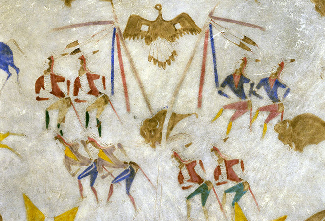 """Sun and Wolf Dances (detail), Attributed to Cotsiogo, Hide painting of the Sun Dance, c. 1890–1900, Eastern Shoshone, elk hide and pigment, approximately 81 x 78"""" (Brooklyn Museum)"""