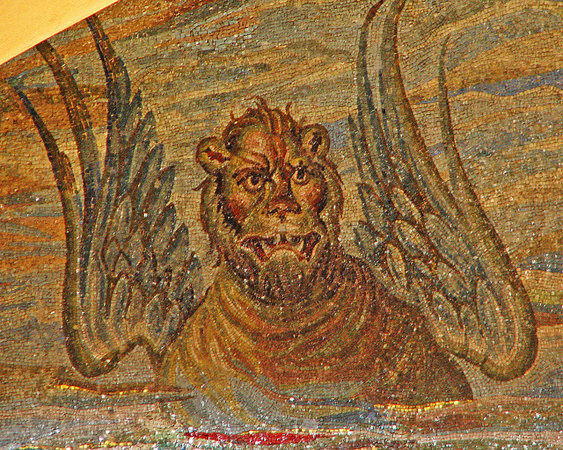 Winged lion representing St. Mark, one of the Four Evangelists, apse mosaic of Santa Pudenziana, 4th century C.E., Rome (photo: Lawrence OP, CC BY-NC 2.0)