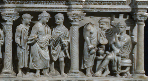 Judgment of Pilate, Sarcophagus of Junius Bassus, 359 C.E., marble, (Treasury of St. Peter's Basilica)