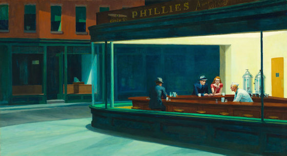 "Edward Hopper, Nighthawks, 1942, oil on canvas, 84.1 x 152.4 cm / 33-1/8 x 60"" (Art Institute of Chicago)"