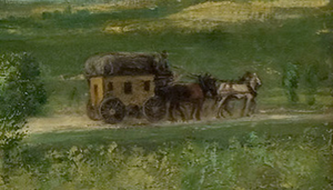 Landscape with cart (detail), Courbet, The Meeting (Bonjour Monsieur Courbet), 1854, oil on canvas, 129 x 149 cm (Musée Fabre, Montpellier)
