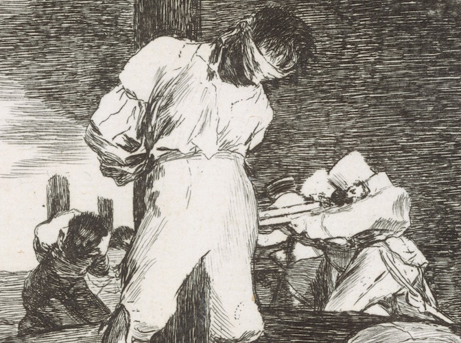 Bound figure and soldiers (detail), Francisco Goya, And there's nothing to be done (Y no hai remedio), plate 15 from The Disasters of War (Los Desastres de la Guerra), 1810, etching, drypoint, burin and burnisher, 14 x 16.7 cm (The Metropolitan Museum of Art)