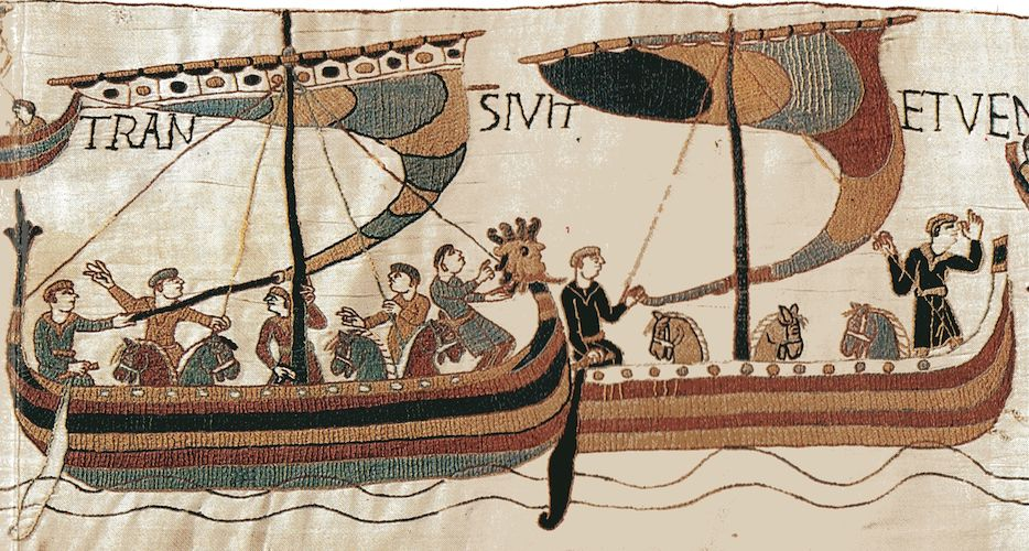 Normans with horses on boats, crossing to England, in preparation for battle. Bayeux Tapestry, c. 1070, embroidered wool on linen, 20 inches high (Bayeux Museum)