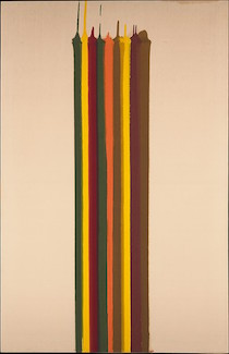 Morris Louis, Pungent Distances, 1961, magna on canvas, 231.8 x 150.5 cm (The Metropolitan Museum of Art) © 1961 Morris Louis