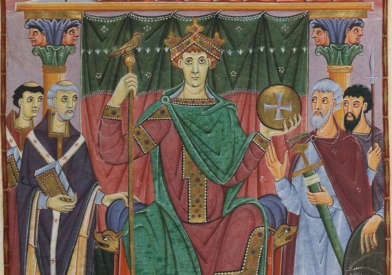 Detail of ruler portrait of Otto III (f.24), Gospels of Otto III (Munich, Bayerische Stattsbibliothek, Clm.4453)