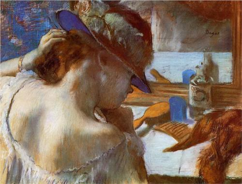 Edgar Degas, At the Mirror, 1885-86, pastel (San Diego Museum of Art)