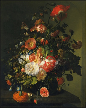 Rachel Ruysch, Flower Still Life, c. 1726, oil on canvas, 75.6 x 60.6 cm (Toledo Museum of Art)