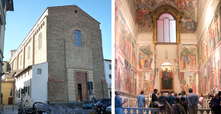 Santa Maria del Carmine, Florence (Italy) (left); Brancacci Chapel, with frescoes by Masaccio and Masolino, c. 1424-7, Santa Maria del Carmine, Florence (Italy) (right)