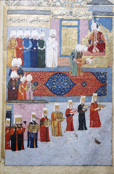 Ottoman miniature showing a Safavid dignitary before the Ottoman sultan, Sultan Murad III, n.d. (Topkapi Museum, Istanbul; photo: Walter Denny)