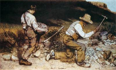 Gustave Courbet, The Stonebreakers, 1849, Oil on canvas, 165 x 257 cm (Gemäldegalerie, Dresden (destroyed))