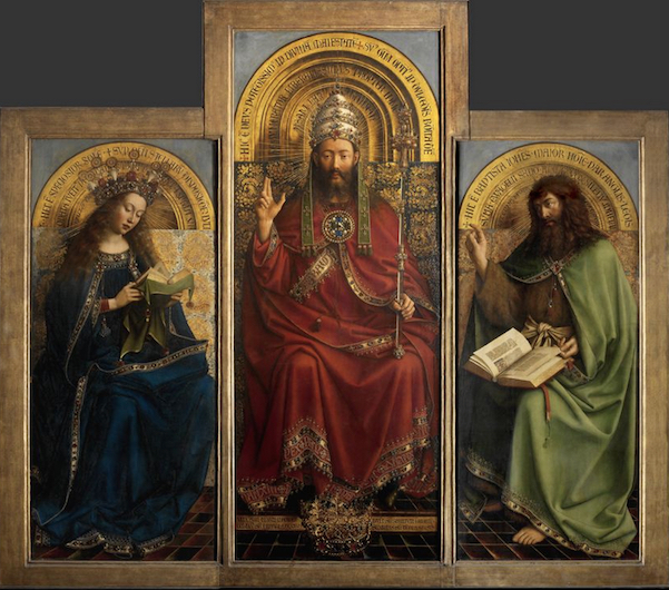 The Virgin Mary, God the Father/Christ,* and St. John the Baptist, top center panels, Jan van Eyck, Ghent Altarpiece, completed 1432, oil on wood, 11 feet 5 inches x 15 feet 1 inch (open), Saint Bavo Cathedral, Ghent, Belgium (photo: Closer to Van Eyck)