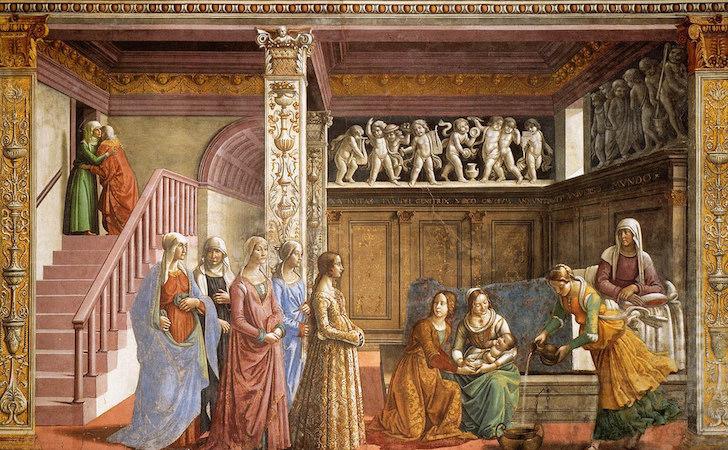 """Domenico Ghirlandaio, Birth of the Virgin, c. 1485-90 fresco, 24' 4"""" x 14' 9"""" (Cappella Maggiore, Santa Maria Novella, Florence)"""