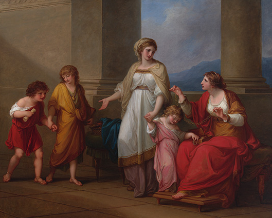 "Angelica Kauffmann, Cornelia, Mother of the Gracchi, Pointing to her Children as Her Treasures, c. 1785, oil on canvas, 40 x 50"" (Virginia Museum of Fine Arts)"