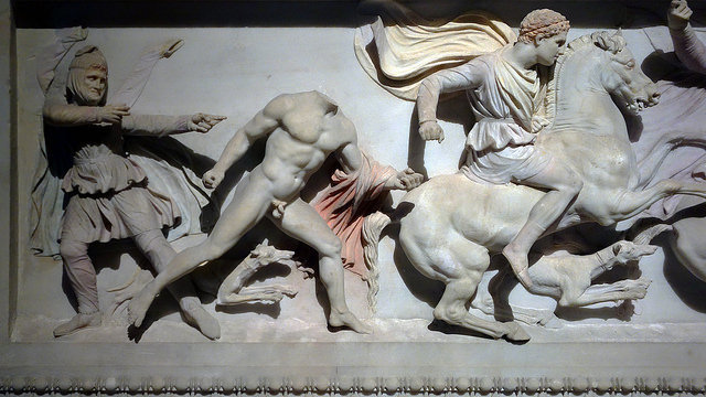 The Alexander Sarcophagus, c. 312 B.C.E., Pentelic marble and polychromy, found in Sidon, 195 x 318 x 167 cm (İstanbul Archaeological Museums).
